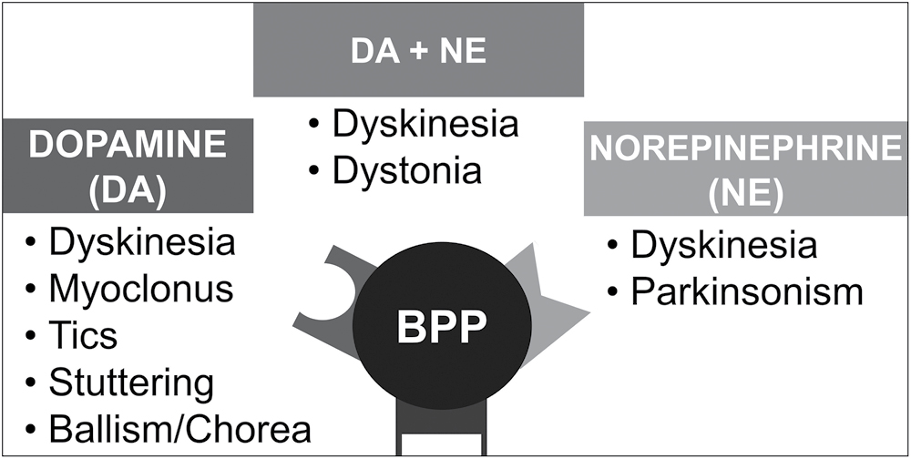 Figure 4: Schematic diagram showing the receptors involved in the mechanism of bupropion-associated movement disorders